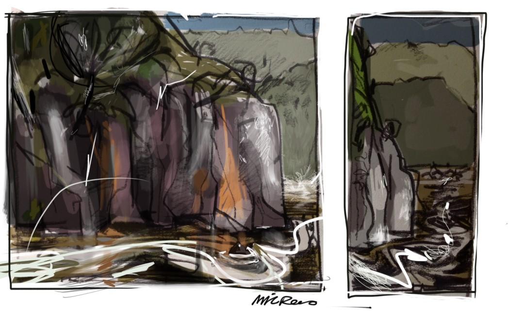 Abstract Cataract Gorge Launceston Tasmania and Possum