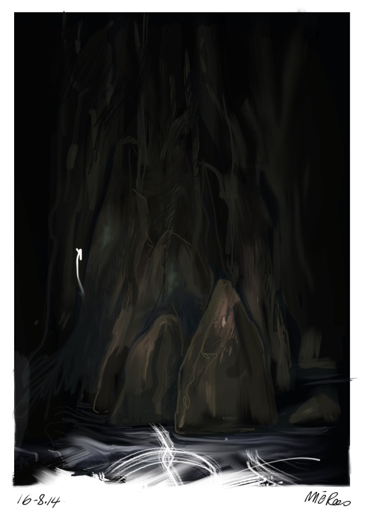 Night Cataract Gorge Tasmania - painted on ipad - mic rees